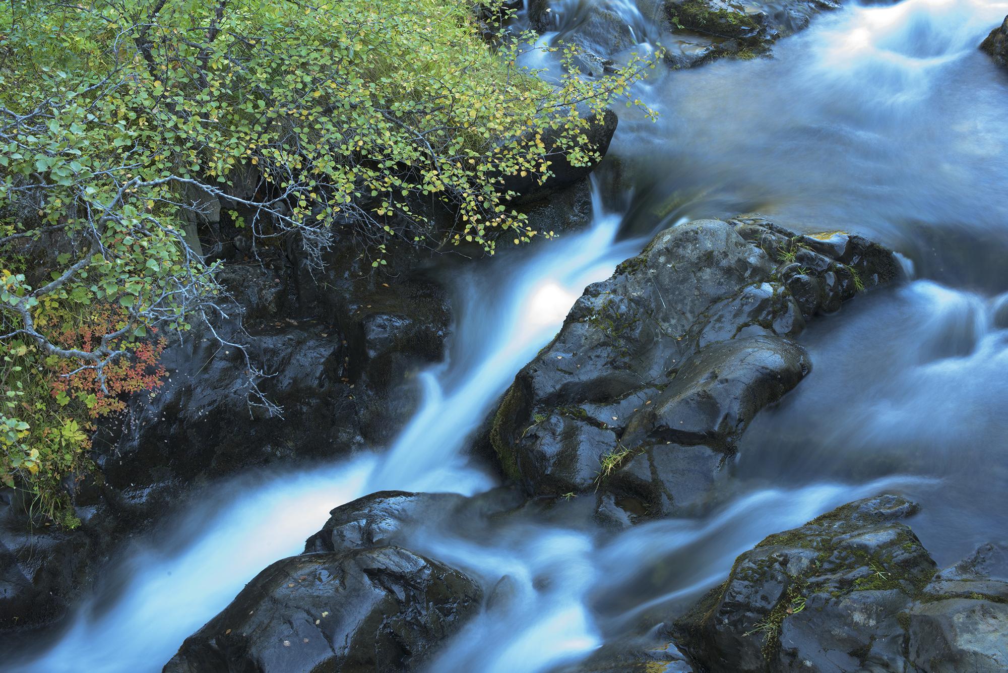 flowing river closeup