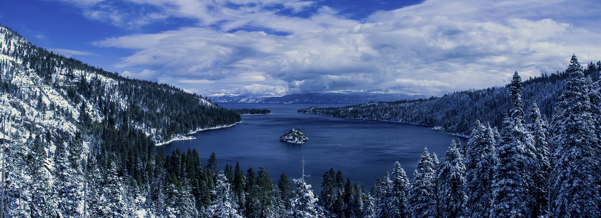 emerald bay snow pano