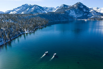 Emerald Bay Aerial both boats high up 2.