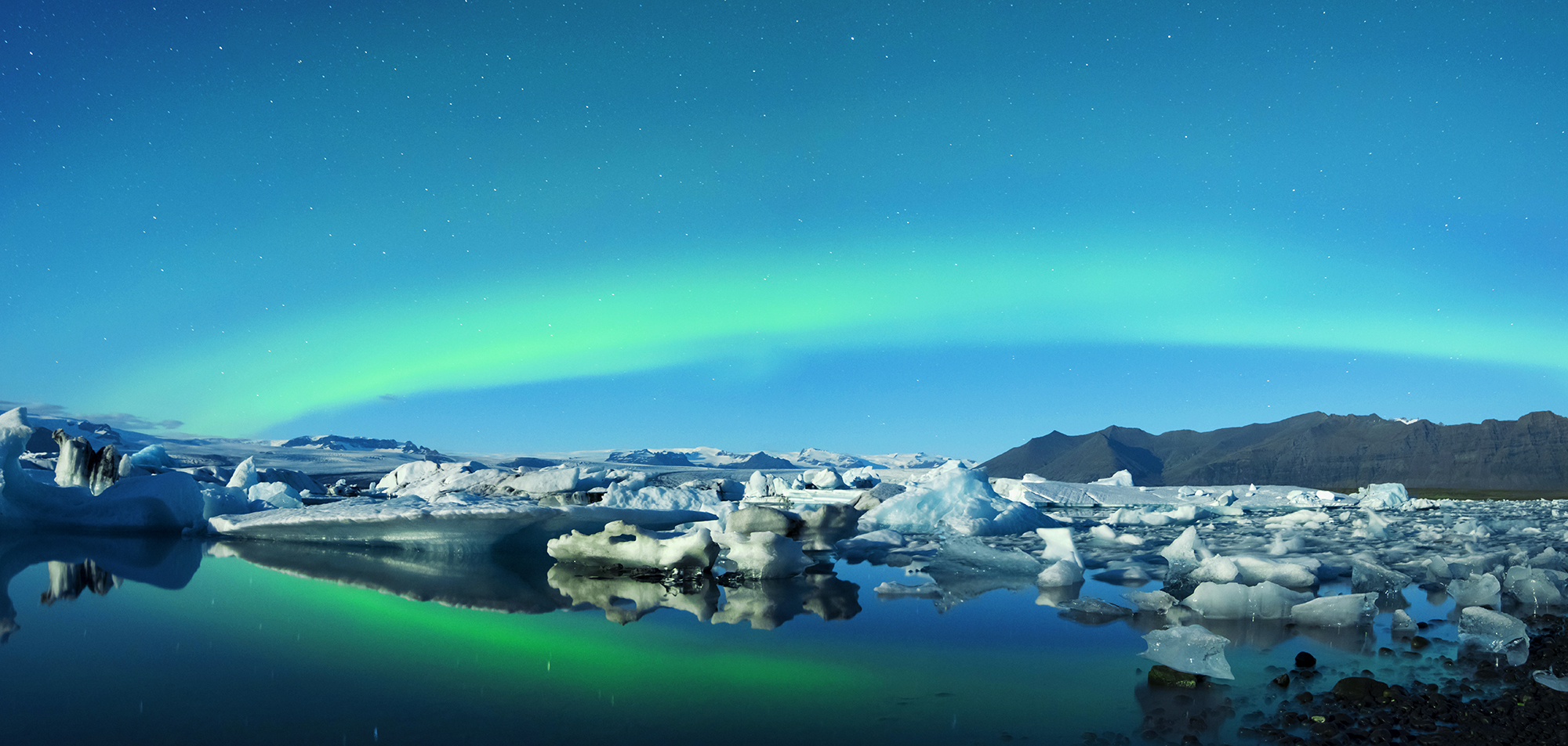 auroras over jokulsarlon glacier  color corrected