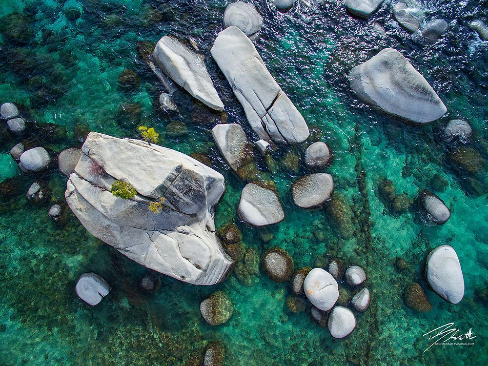 Emerald Waters - Bonsai Rock Lake Tahoe aerial photography by Brad Scott