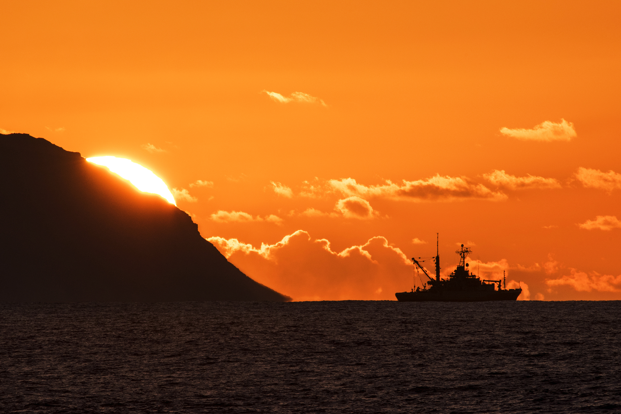 sonar ship with sunset