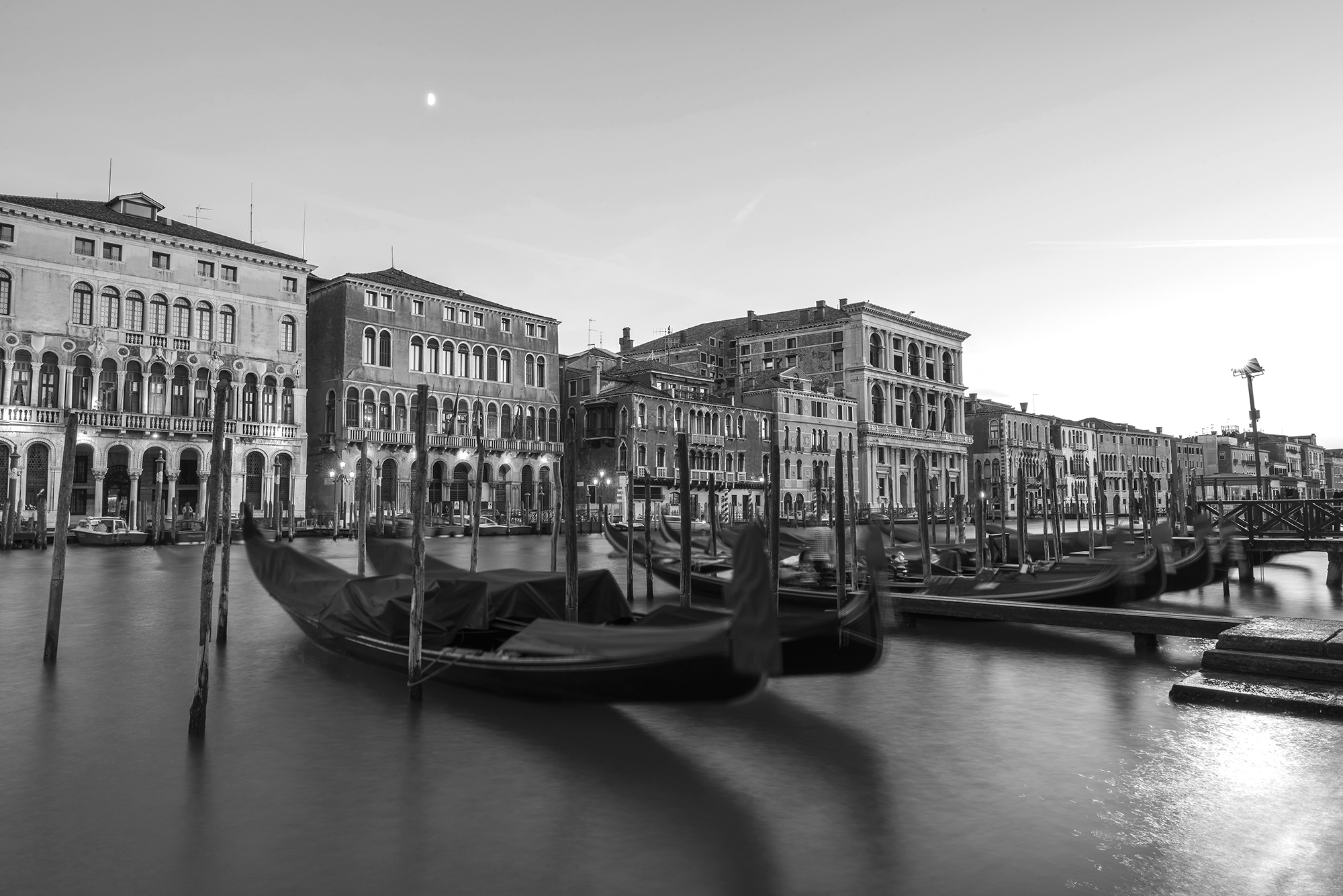 gondolas and the moon B&W