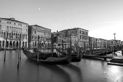 gondolas and the moon B&W