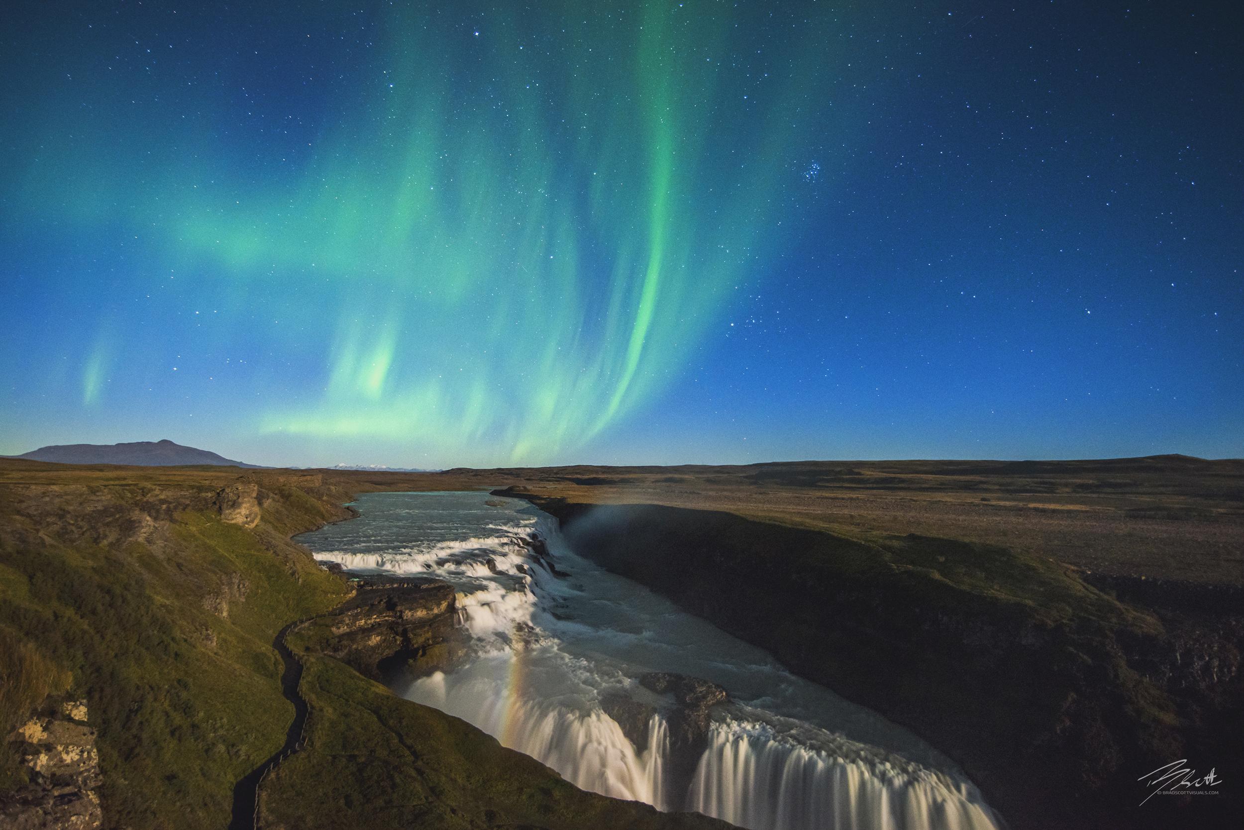 Auroras over Gullfoss