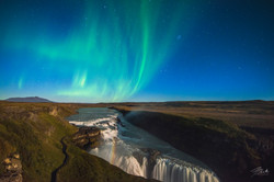 Auroras over Gullfoss