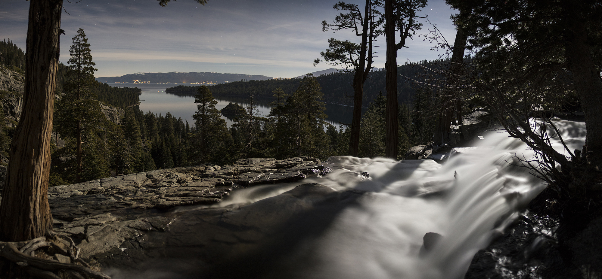 lower eagle falls and emerald bay pano