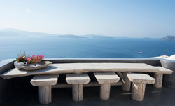 Santorini bench with a view