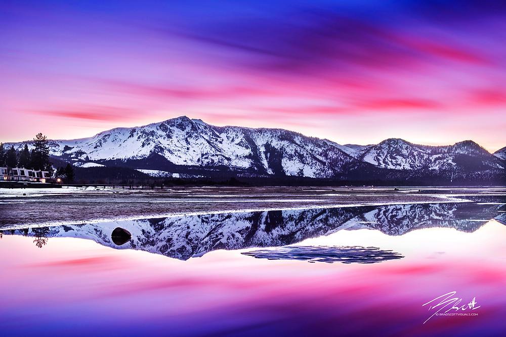 Tallac Reflections - Lake Tahoe Sunset Print by Brad Scott