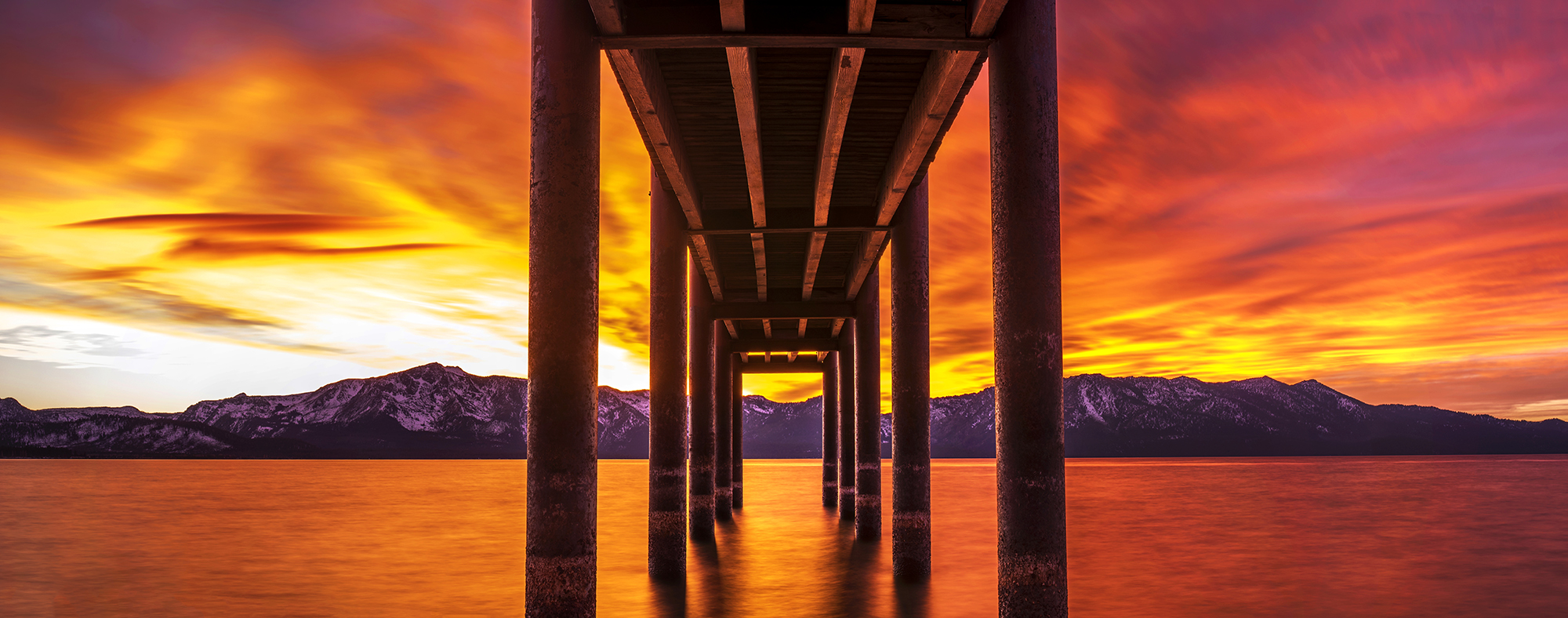 under the dock sunset pano color correction