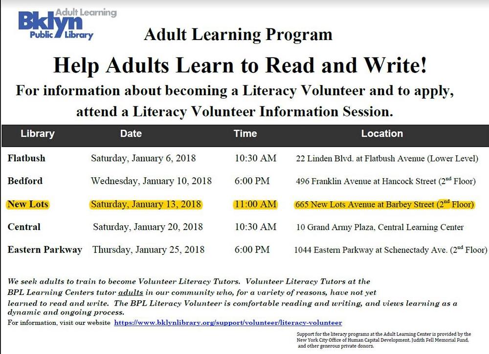 Adult Reading Program