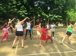 Volunteer dancers in Brazil