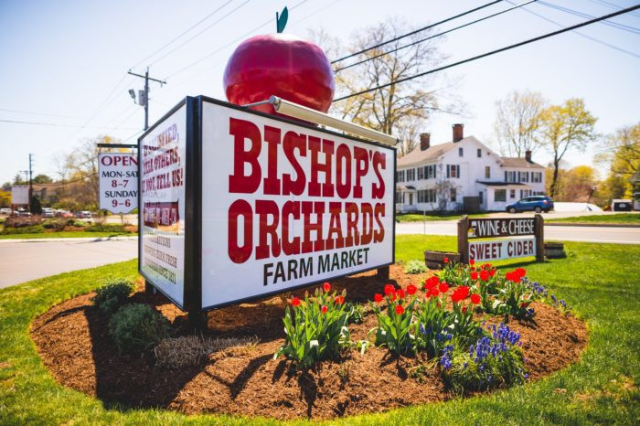 Bishops Orchard, Guilford, CT road side sign. This is a landmark sign for Bishops, they have been in business for over 100 years.