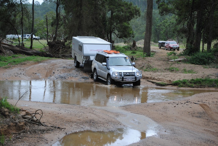 River crossing on a camper trailer course