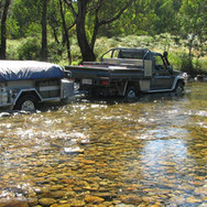 Johnnos creek with camper trailer and 4x4