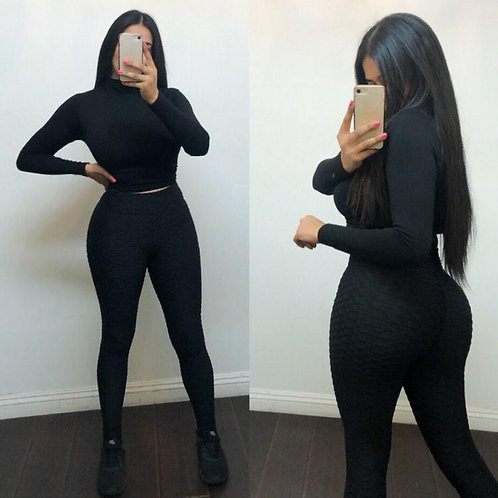 Black ruched leggings