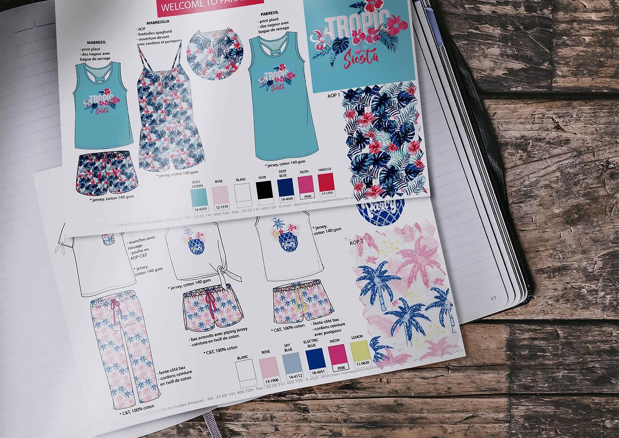 Planches de stylisme nuit femme pyjashort et chemise de nuit exotique   design textile Studio Lili la Sardine styliste infographiste freelance  à Paris.
