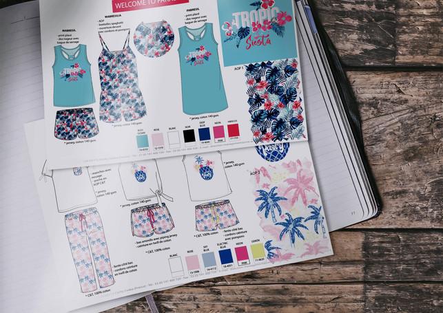 Planches de stylisme nuit femme pyjashort et chemise de nuit exotique | design textile Studio Lili la Sardine styliste infographiste freelance  à Paris.