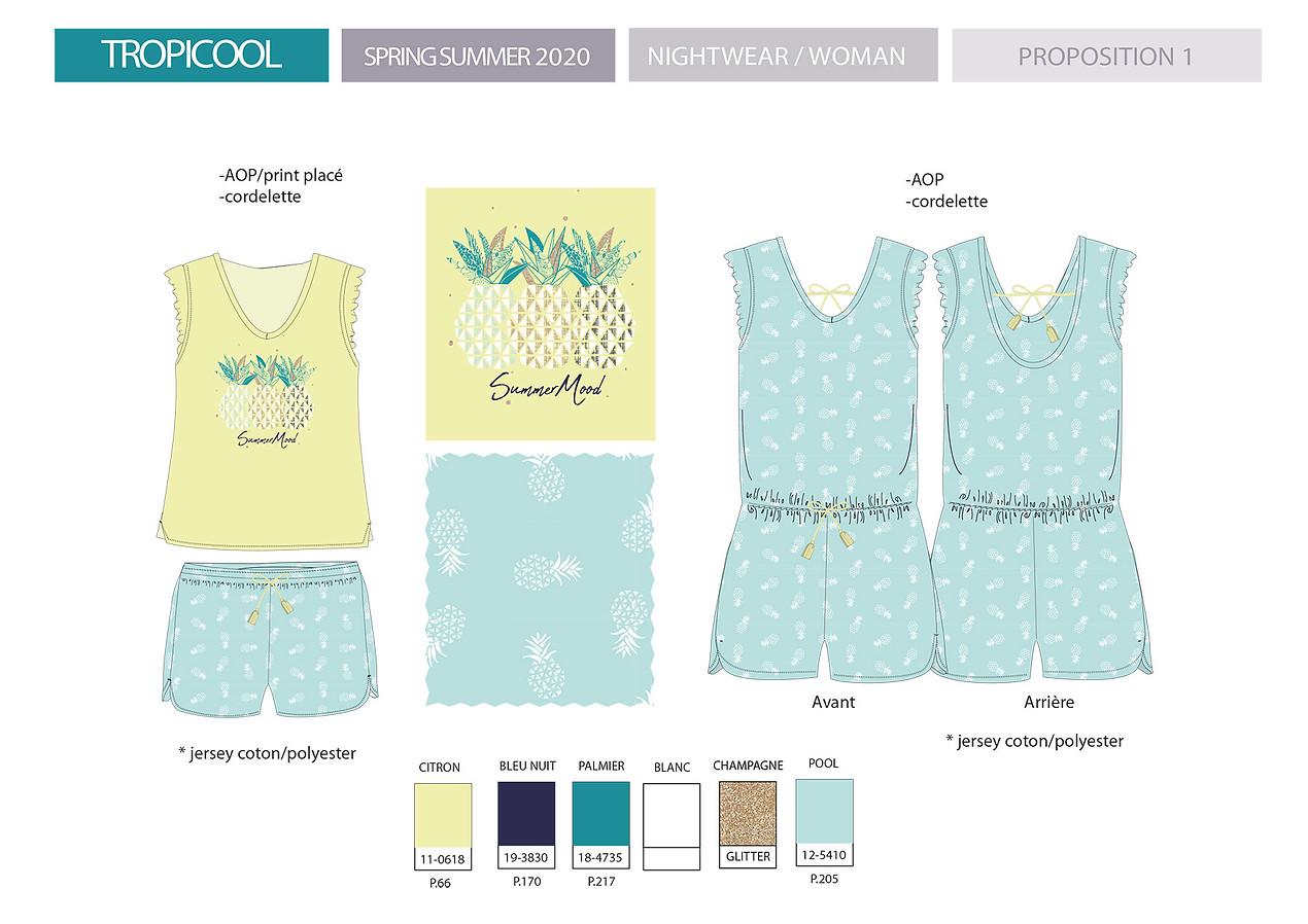 Planches de stylisme nuit femme pyjashort imprimé motif ananas exotique   design textile Studio Lili la Sardine styliste infographiste freelance  à Paris.