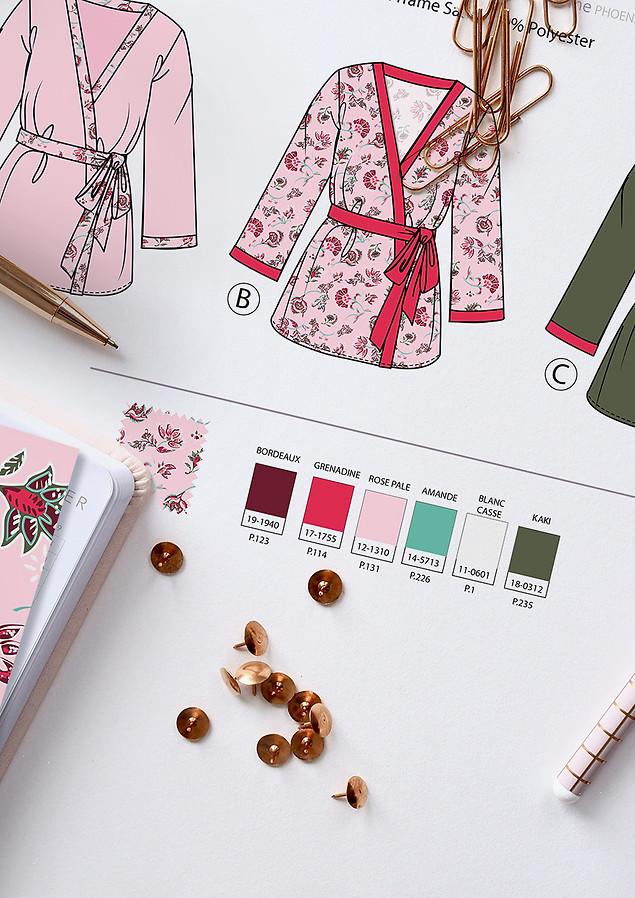 Planches de stylisme nuit femme kimono fleuri | design textile Studio Lili la Sardine styliste infographiste freelance  à Paris.