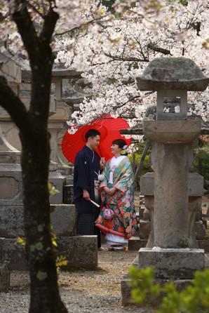 mariés au Temple de Zenko-ji à Nagano