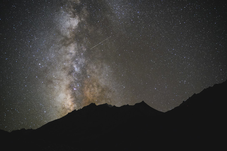 the milky way over the mountains of the Karakoram range