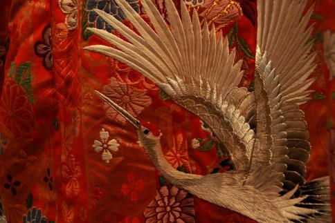 red-crowned crane on kimono