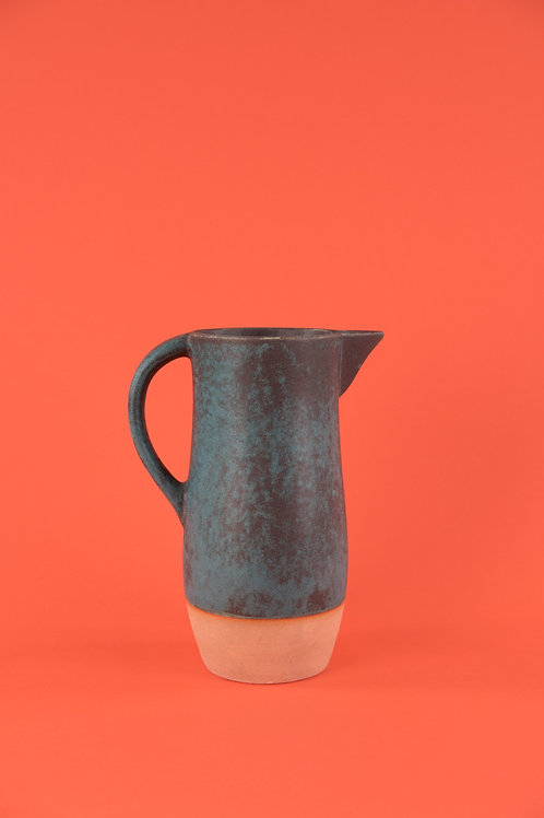 Two-tone Earthenware Pitcher in Rustic Orange & Turqouise