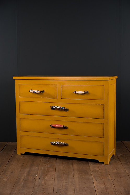 Yellow Wooden Chest of Drawers