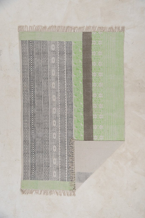 Lime Grey Hand Block Printed Cotton Rug