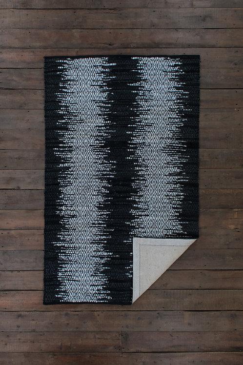 Black White Leather Loom Rug