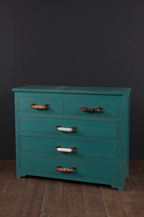 Turquoise Wooden Chest of Drawers