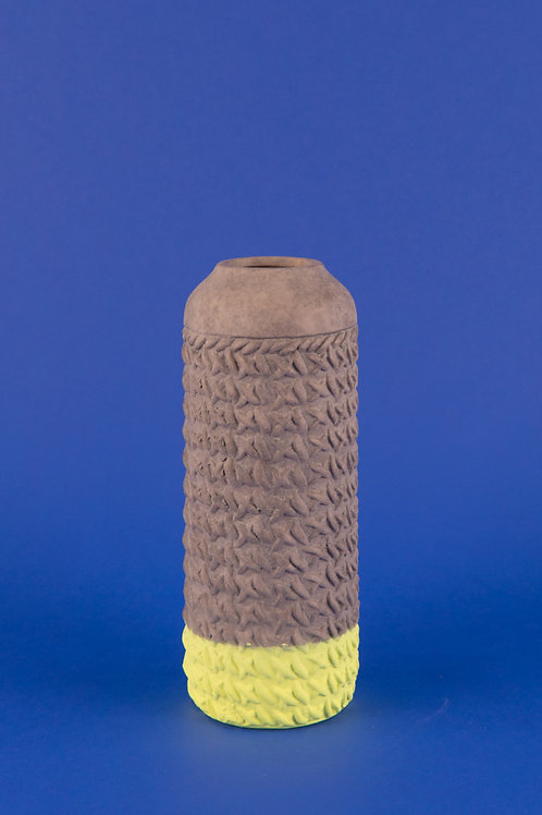 Two-tone Earthenware Vase in Lime Green & Concrete