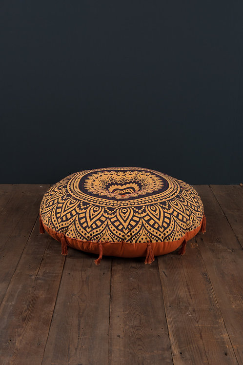 Round Pouffe Cushion Hand Stitched with Tassels
