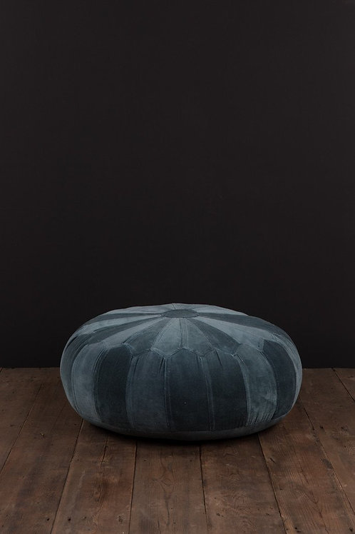 Moroccan Pouffe in Grey Cotton Velvet