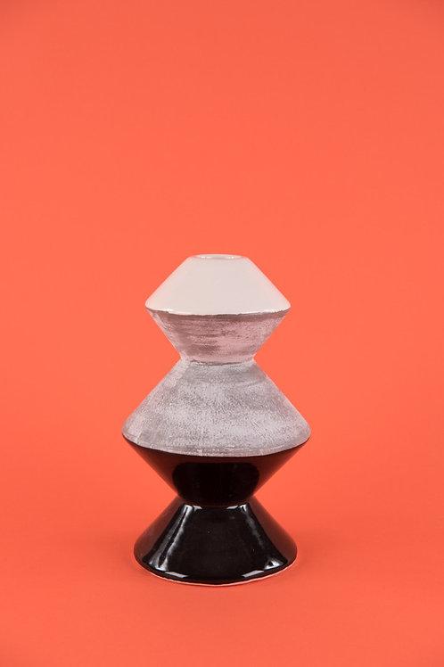 Three-tone Earthenware Vase in White Black & Concrete