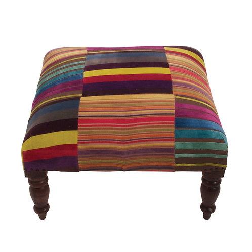 Striped Velvet Footstool