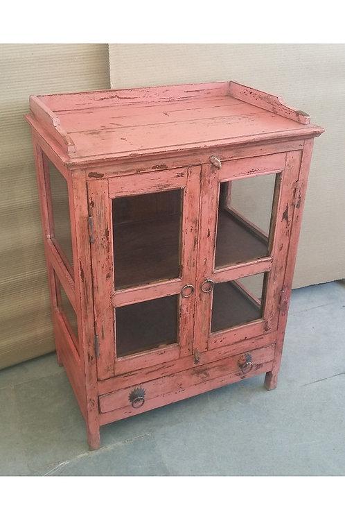 Vintage Pink Glazed Wooden Cabinet