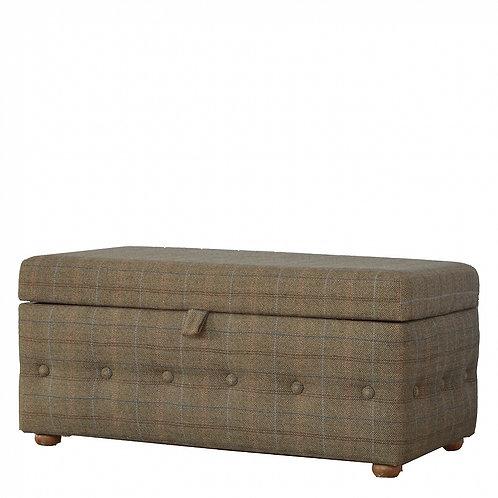 Upholstered Footstool in Multi Tweed