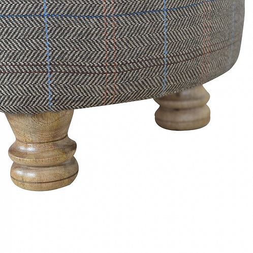 Upholstered Oval Footstool in Multi tweed