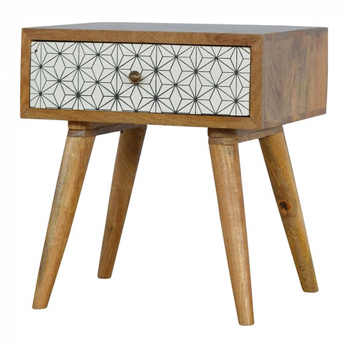 Geometric Screen-print Drawer Front Bedside
