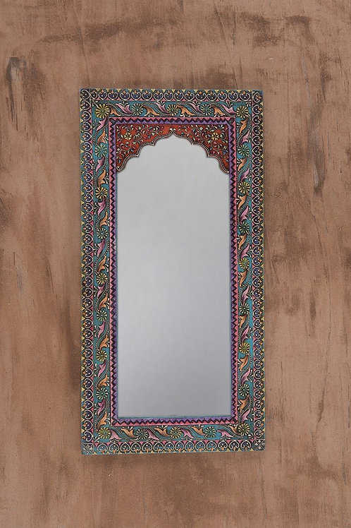 Decorative arched wooden mirror with mehandi work