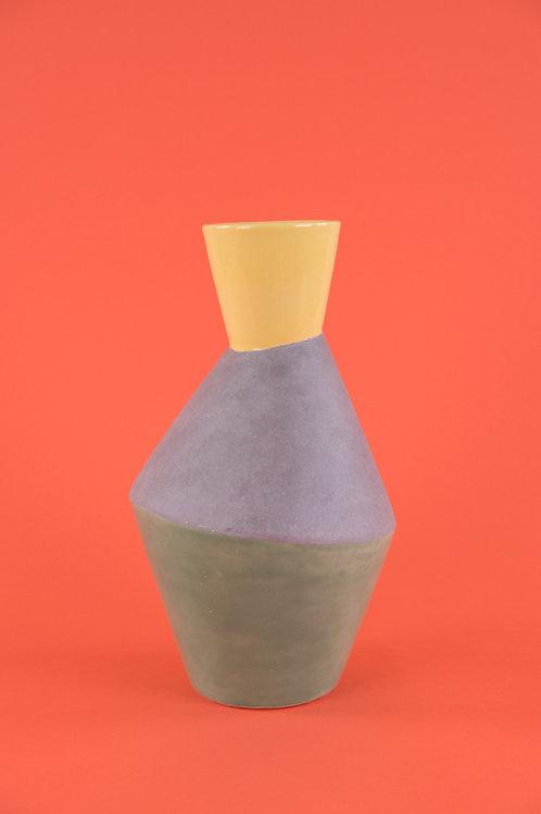 Three-tone Earthenware Vase in Yellow Green & Concrete