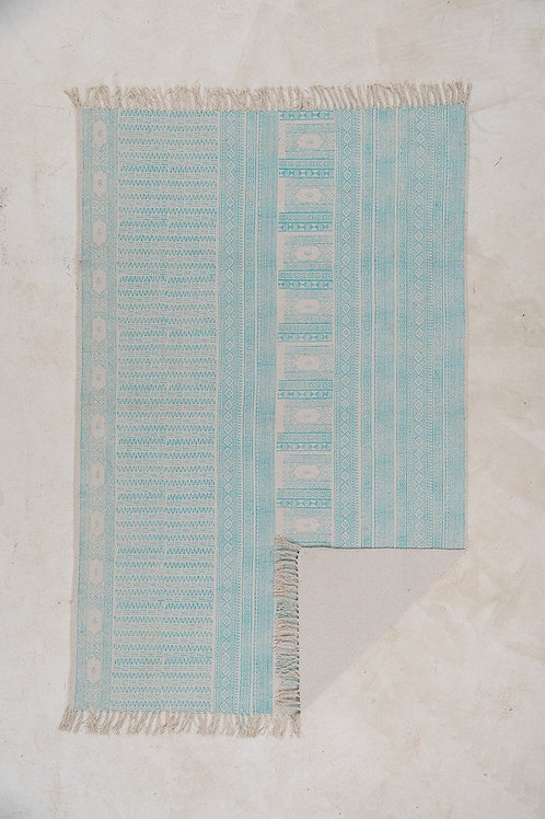 Aqua Hand Block Printed Cotton Rug