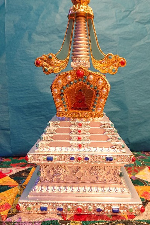 Platinum Stupa with Detailed Ornament