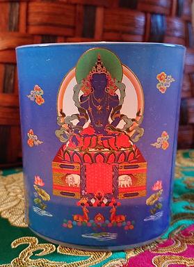 "Medicine Buddha Inscription Candle Holder, 3.25"" X 3"