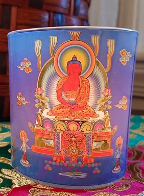 "Amitabha Buddha Inscription Candleholder, 3.25"" X 3"""