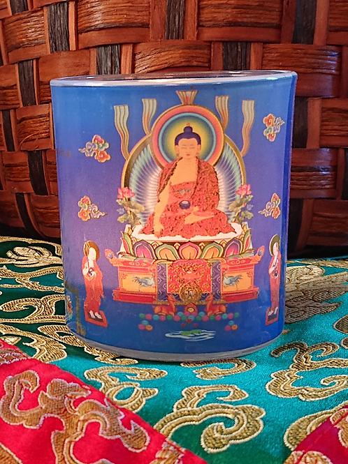 "Shakyamuni Buddha Inscription Candle Holder, 3.25"" X 3"""
