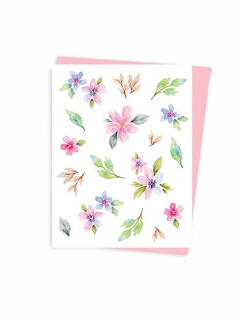 Carte de souhaits fleurs aquarelle, fait au Québec Canada