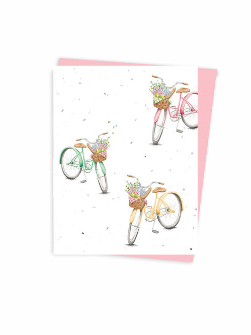 Carte ensemencée à planter,  Bicyclettes
